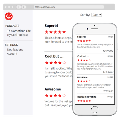 Screenshot of podcast reviews collected by Podrover